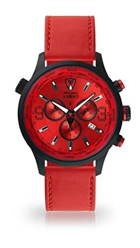 DETOMASO AURINO Montre pour Hommes Montre analogique Chronographe Chronographe Quartz Bracelet en Cuir Rouge Cadran Rouge DT1061-B-907