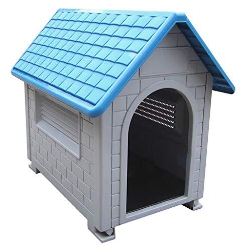 Zwinger Hundehütten Zwingerabdeckungen Haustierbedarf für drinnen und draußen Hundehütte, wetterfeste Hundehütte aus Kunststoff, Katzenstreu, waschbare Hundehütte ( Color : Blue , Size : 82*54*70cm )