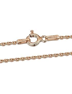 Amberta 925 Sterlingsilber 14K Roségold Damen-Halskette - Erbskette - Rolo Kette - 1.3 mm Breite - Verschiedene...