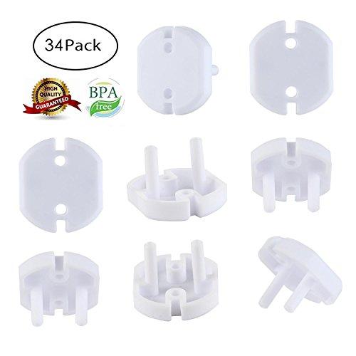 Aolvo Steckdosenschutz Klemmen Europäische Norm Zwei Prong Baby Steckdosenschutz Baby Proofing Weiße Steckdosenabdeckung Elektrische Kind Sicherheit Protector Plug Caps für Kleinkinder, 34 Stück