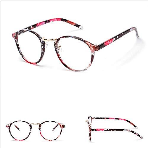 KERVINFENDRIYUN YY4 Klare Linse Geek/Nerd Retro Brille, Metallrahmen (Farbe : Leopard)
