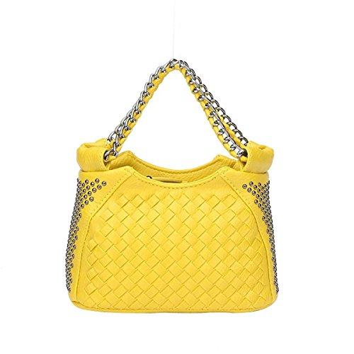 Art Der Frauen Gesponnenen Beutel Art Und Weise Niet Umhängetasche Mini-Reißverschluss Tasche Yellow