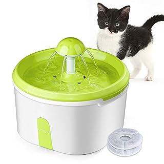 ACTOPP Katzen Trinkbrunnen Haustier Wasserbrunnen Hunde Elektrischer Wasserspender Katzentrinkbrunnen mit 2pcs Aktivkohlefilter 2.2L Automatisch Blumentrinkbrunnen für Hunde und Katzen