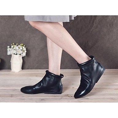 Stivali Donna Comfort Cowhide Nappa Cuoio Primavera Casual Comfort Nero Piatto Black