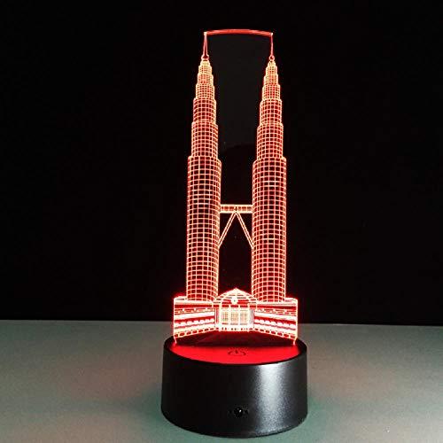 Twin Tower Gebäude 3D Led Lampe Touch Sensor Nachtlicht 7 Farbwechsel Lampe Luminaria Für Kinder Schlafzimmer Stimmung Beleuchtung 3D Nachtlicht