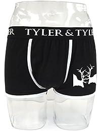 Tyler & Tyler - Boxer Homme Noir, 2 Cerfs Blanc