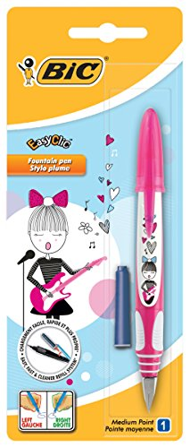 Bic Easy Clic Fountain Pen with Blue Ink Cartridge Cherry Motif