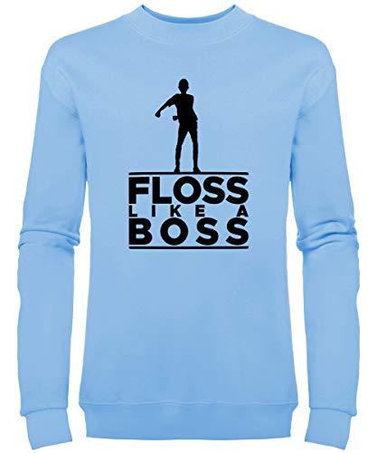 Kinder Floss Like A Boss Sweatshirt (11-12 Jahre, Himmelblau) (Skelett Pullover Für Jungen)