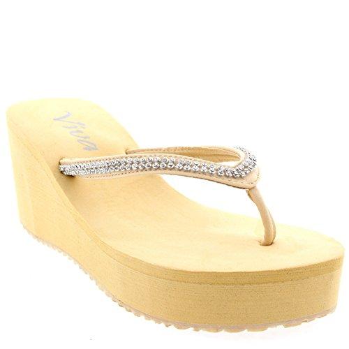 Damen Zehenriemen Diamant Flip Flop Plattform Sommer Keilabsatz Sandale Nude