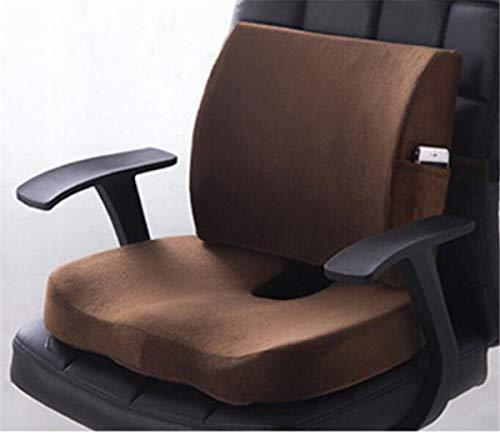 Büro-Auto-Memory-Foam-Kissen-Set Spine Steißbein Protect Sitz Büro-Sofa Stuhl Rückenkissen Taille Mat Grid 2ST Stuhlkissen,Braun,shortplush