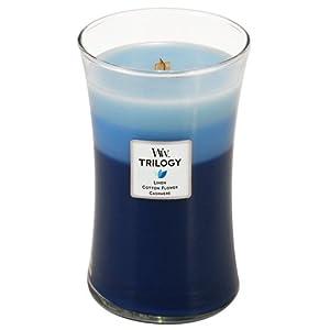 WoodWick, Candela profumata in barattolo, grande, Clothesline Fresh Trilogy, Blu (Blue)