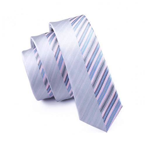 KYDCB Mode Schlanke Krawatte Grau Und Lavendel Gestreift Dünne Schmale Gravata Seide Jacquard Krawatten Für Männer Hochzeit Bräutigam