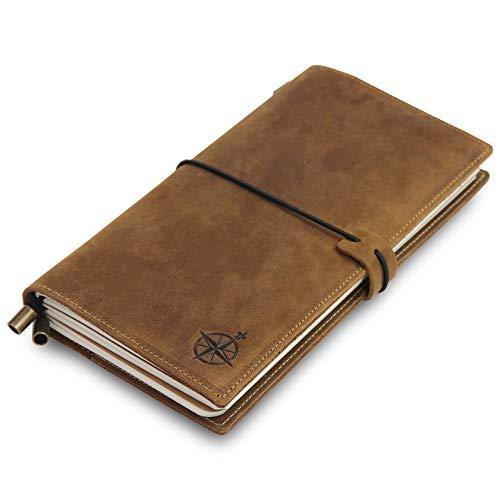 Leder Notizbuch mit Taschen - Nachfüllbarer Reisetagebuch-Organizer, handgefertigtes Echtleder Notizbuch mit Taschen zum Schreiben, Reisen, Organisieren - Leere Einlagen, 22x11,5 cm -
