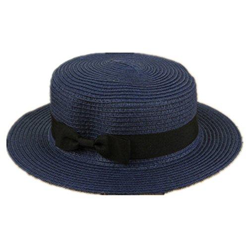 Lawevan femmes Mesdames flattop bow chapeau de paille chapeau de style panama bleu foncé