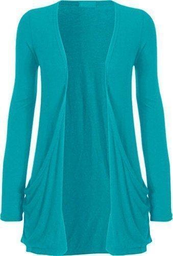 fashionchic Femmes uni manches longues ouvert drapé 2 poches fin boyfriend grande taille cardigan haut XL-XXL-XXXL 8-26 Turquoise