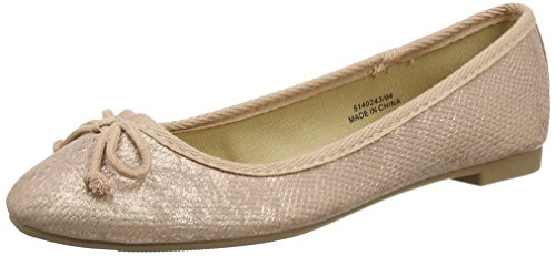 New Look Women's Jakey Met Ballet Flats, Gold (Rose Gold), 7 UK 40 EU