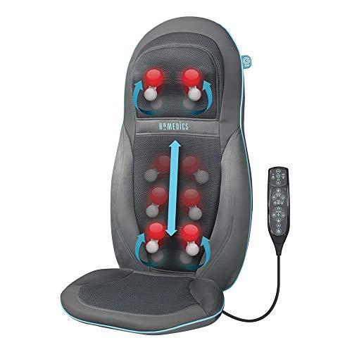 Homedics SGM1600 Seduta Massaggiante Esclusivo Technogel, Doppio motore per collo e schiena, Tipo: Massaggio Shiatsu + Rolling, 3 livelli di velocità regolab