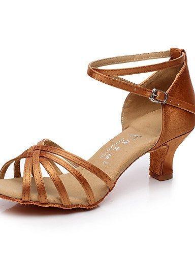 ShangYi Chaussures de danse ( Noir / Marron / Rouge ) - Non Personnalisables - Talon Cubain - Satin / Flocage - Latine / Salsa Red