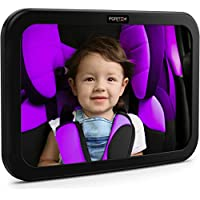 Baby Car Mirror by FORTEM - Rear View Backseat Mirror For Babies and Toddlers in Car Seats - Wide Angle w/Shatterproof Glass - CRASH TESTED for SAFETY - Bonus Visor Clip