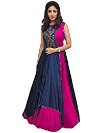 Yeoja Creation Women's Embroidered Semi-Stitched Gown (Indo-western_Semi_Stitched)