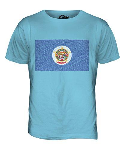 CandyMix Bundesstaat Minnesota Kritzelte Flagge Herren T Shirt Himmelblau