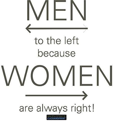 ber » Men left Women right, 40x39,3cm, Carbon 3M DiNoc graubraun • Dekoaufkleber / Autoaufkleber / Sticker / Decal / Vinyl ()