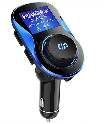 Bluetooth FM Transmitter, VPROOF [180°Drehung] KFZ Auto Radio Adapter Freisprecheinrichtung mit Dual USB Ladegerät 5V/2.1A & 1A, 1,4-Zoll-Display, 3.5mm Aux & TF Karte Slot und USB-Stick (Schwarz)
