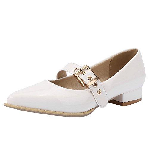 Mee Shoes Damen Niedrig instep strap Schnalle Pumps Weiß