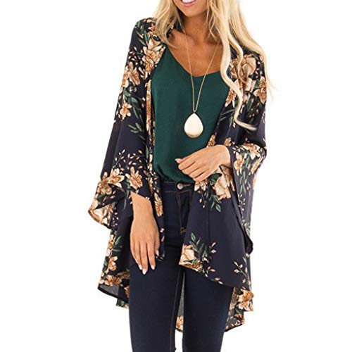 WUDUBE_Badeanzüge Damen Floral Kimono Cardigan Strand Chiffon Bluse Tops Bikini Cover up Bluse Beachwear Strandkleid Sommer Strandponcho Dunkelblau S/M/L/XL - Crochet Trim Cardigan