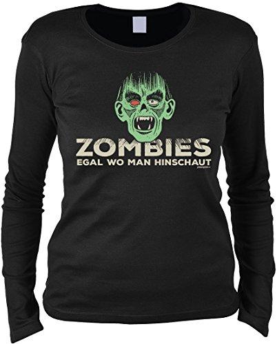 Gruseliges Halloween Fun Langarmshirt Damen - Zombies egal wo man hinschaut - T-Shirt Unisex, Farbe: (Halloween Last Zombie Kostüme Minute)