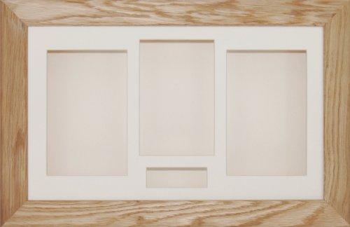BabyRice Schaurahmen, für Medaillen / Andenken / Blumen, 4 Fächer, solide Eiche, cremefarbenes Passepartout / Hintergrund, ca. 36,8x21,6cm (Box Oak Shadow)