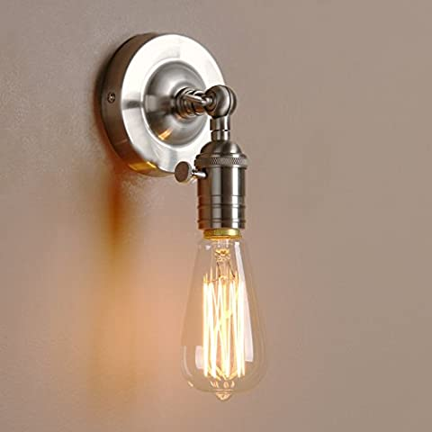 Pathson Industrial Vintage Metal Wall Sconce Lamp Edison Light Fixture (Brushed)