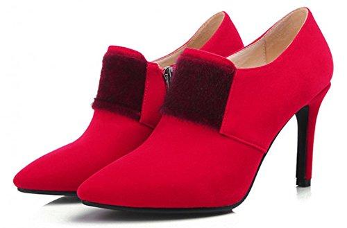 Aisun Femme Sexy Talon Haut Aiguille Chaussures de Mariage Escarpins Rouge