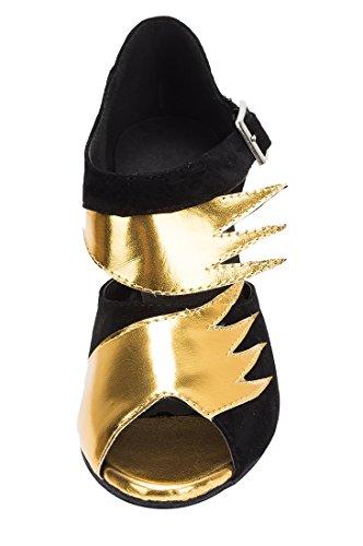 TDA - Peep-Toe donna 8cm Heel Black Gold