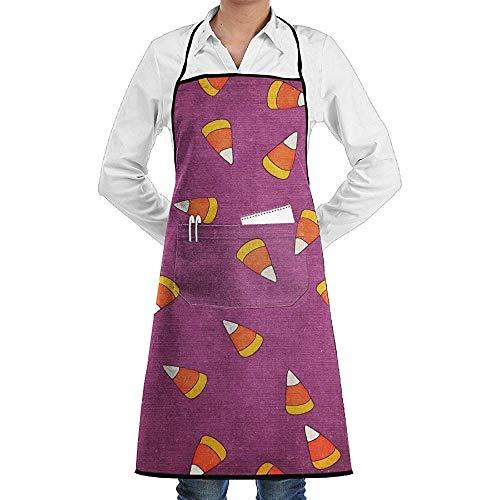 Candy Corn Kostüm Süße - UQ Galaxy Küchenschürze,Candy Corn Pattern Schürze Lace Unisex Chef verstellbare Lange vollschwarze Küche Schürzen Lätzchen mit Taschen für Restaurant Backen BBQ