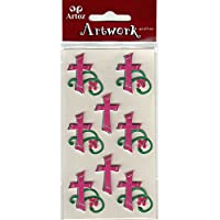 Pink Christian Cross Craft Embellishment Religious Event Or Wedding Card Topper Scrapbooking Stickers