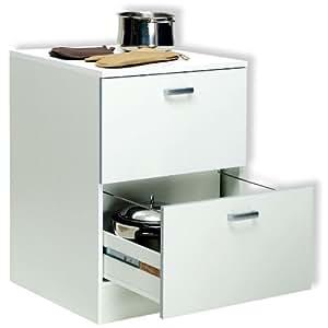 Base mobile cucina componibile due cassettoni legno bianco BS6758 L60h85p60: Amazon.it: Casa e ...