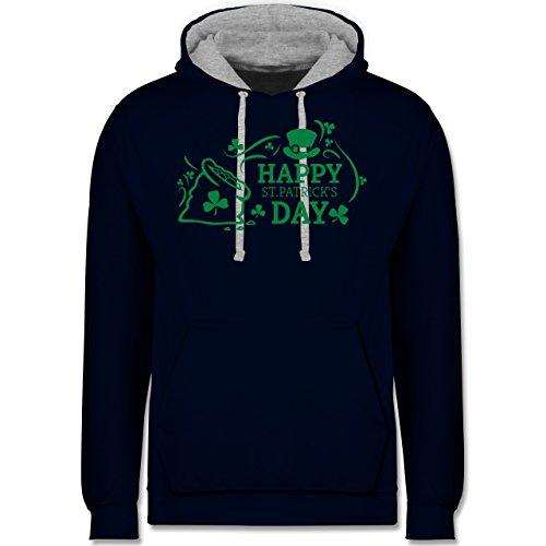 Festival - Happy St. Patricks Day Badge - Kontrast Hoodie Dunkelblau/Grau meliert