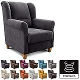 Cavadore Ohrenbackensessel Finja, gemütlicher Sessel mit Federkern im Landhausstil, passender Hocker erhältlich, Maße: 87 x 102 x 96 cm (BxHxT), Farbe: Schwarz