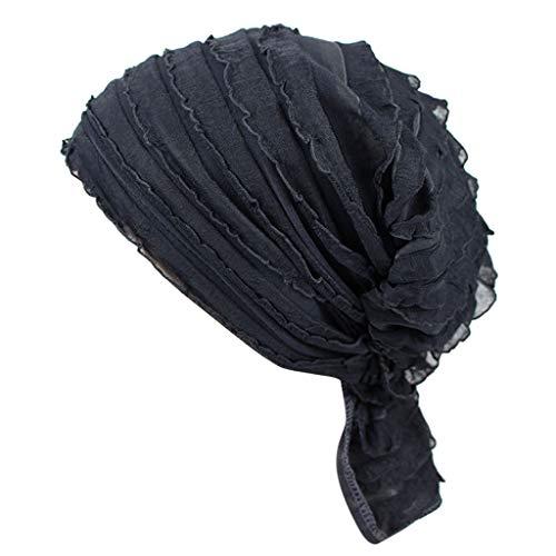 POIUDE Turban Damen, Kopfbedeckung Turban Sommer Hut Chemo Kopfbedeckungen Headwear Muslim Kopftuch Turban Mütze Beanie(Marine, Free Size)