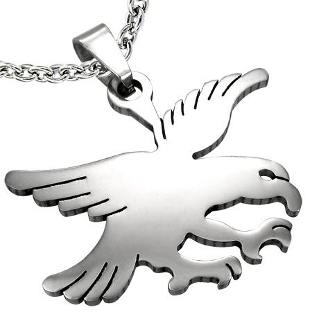Eagle Flat (Stainless Steel Flat Eagle Bird design Pendant. Never needs cleaning and lasts forever! Delivered without chain or cord. Makes a lovely present or gift!)
