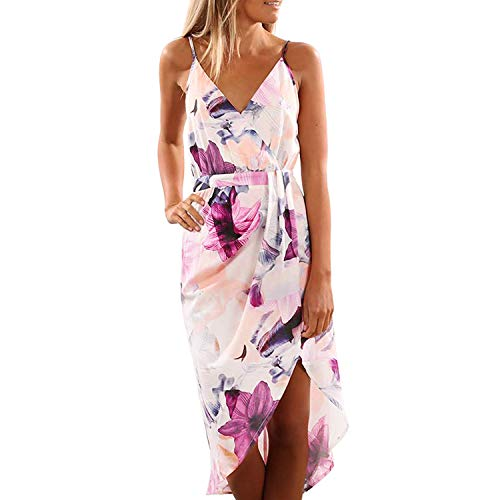 Handsome Girl dresses Dress Women Sleeveless Sling Print Beach Mid-Calf Casual Black Valuable Dignified Noble Novel Long Dress Summer Pink XL -