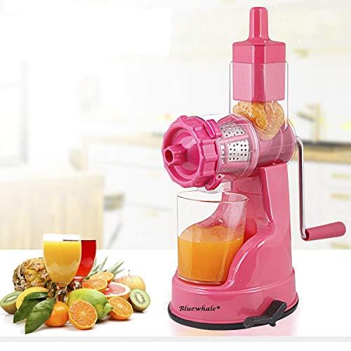 Bluewhale New Fruit & Vegetable Juicer with Steel Handel Pink Plastic, Steel Hand Juicer (Pink Pack of 1)