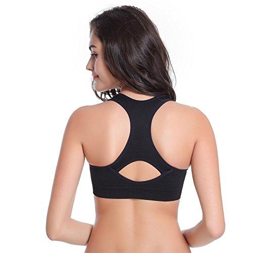 EXIU Femmes Soutien-gorge Sans couture Sport Rembourré extensible Yoga Fitness Haut Yoga Vest Noir