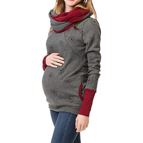 cdce7c1a0 SamMoSon Ropa Embarazada Invierno Divertida Navidad Camiseta Fotos Otoño  Lactancia Maternidad Encaje Sudadera con Capucha De