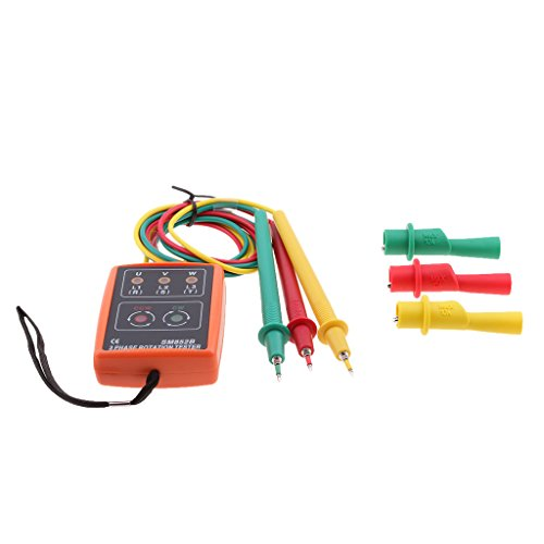 MagiDeal 3 Phase Rotation Tester Indikator Meter mit rot, grün, gelb Licht,60-600V
