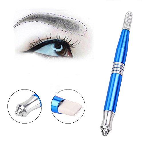 Augenbrauen Tattoo Stifte,Doppelköpfige Manuelle Augenbraue Permanent Make-Up Lippen und Eyeliner Tattoo stift,Edelstahl Salon Graviert Stift(Blau)