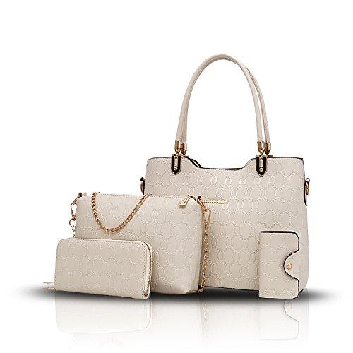 Sunas 2017 le nuove donne delle borse delle donne 4 insiemi del raccoglitore diagonale della borsa del pacchetto di spalla di temperamento del sacchetto delle donne Beige
