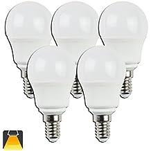Aigostar - Pack de 5 Bombillas esfericas LED A5 G45, 5W, casquillo fino E14, luz cálida 3000K [Clase de eficiencia energética A+]