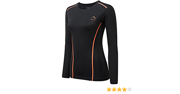 Details about  /More Mile Long Sleeve Womens Compression Top Black Sports Training Baselayer